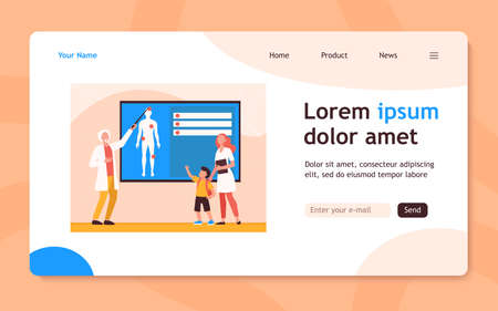 Physician explaining human anatomy to kid. Nurse, boy, body flat vector illustration. Medicine and education concept for banner, website design or landing web page