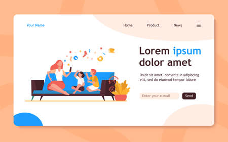 Mother sitting on sofa with kids and using smartphone. Couch, online, leisure flat vector illustration. Family and digital technology concept for banner, website design or landing web page
