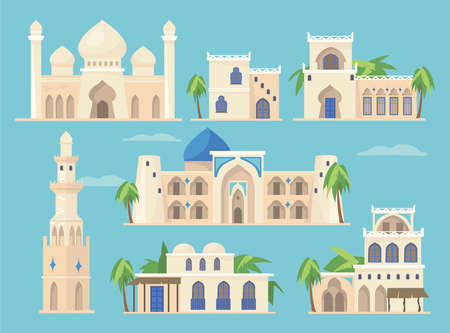 Cartoon set of different Arabic buildings in traditional style. Flat vector illustration. Islamic heritage, old African or Indian castles. Arabic, ancient architecture, Taj Mahal, bazaar concept