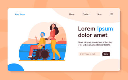 Young woman wheeling wheelchair with senior man. Volunteer helping disabled person flat vector illustration. Disability, volunteering concept for banner, website design or landing web page