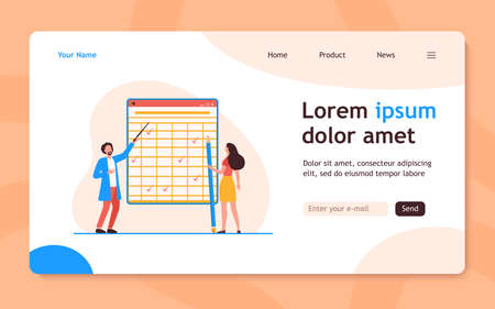 Tiny people looking at checkmarks in huge table. Pencil, woman, mark flat vector illustration. Report and digital technology concept for banner, website design or landing web page