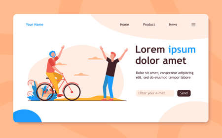 Active senior and young men meeting outdoors. Riding bike, father and son flat vector illustration. Lifestyle, relationship, activity concept for banner, website design or landing web page 向量圖像