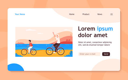 Active grandfather and grandson riding bikes together. Old man and boy cycling outdoors flat vector illustration. Lifestyle, activity, family concept for banner, website design or landing web page 向量圖像