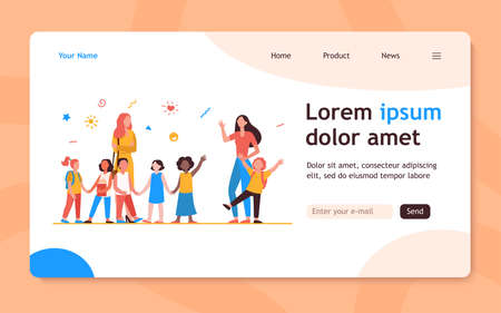 Classmates meeting at school. Mom leading son, group of school children with teacher flat vector illustration. Childhood, back to school concept for banner, website design or landing web page 向量圖像