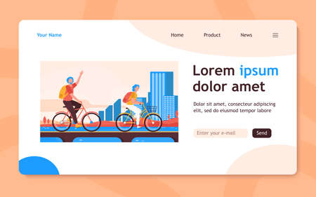 Senior couple riding bikes. Old man and woman cycling on city flat vector illustration. Active lifestyle, leisure, activity concept for banner, website design or landing web page 向量圖像