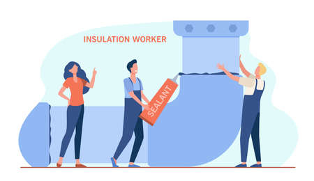 Tiny repairmen doing insulation of tube. Sealant, worker, plumber flat vector illustration. Repair service and maintenance concept for banner, website design or landing web page
