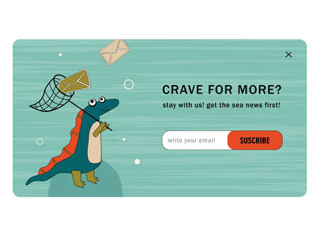 Subscribe cartoon vector mailout template with ancient dino. Cute dino catching envelope with hand net and subscription button. Dinosaur, history, ancient concept for website design or landing page 向量圖像