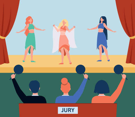 Female dancers performing on dancing contest. Bellydance, costume, jury flat vector illustration. Entertainment and talent show concept for banner, website design or landing web page 向量圖像