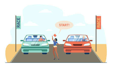 Happy drivers in cars standing on start. Vehicle, flag, race flat vector illustration. Racing and competition concept for banner, website design or landing web page 向量圖像