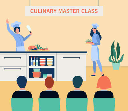 Happy cooks preparing food on culinary master class. Vegetable, chef, kitchen flat vector illustration. Healthy meal and nutrition concept for banner, website design or landing web page