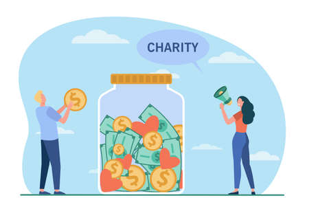 Two tiny people donating money in giant jar. Coin, glass, volunteer flat vector illustration. Charity and donation concept for banner, website design or landing web page