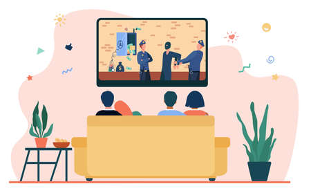 Happy couples watching criminal drama in living room. Sofa, evening, TV flat vector illustration. Lifestyle and entertainment concept for banner, website design or landing web page