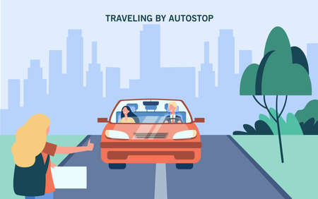 Woman with backpack traveling by auto stop. Car, thumb up, road flat vector illustration. Vacation and trip concept for banner, website design or landing web page