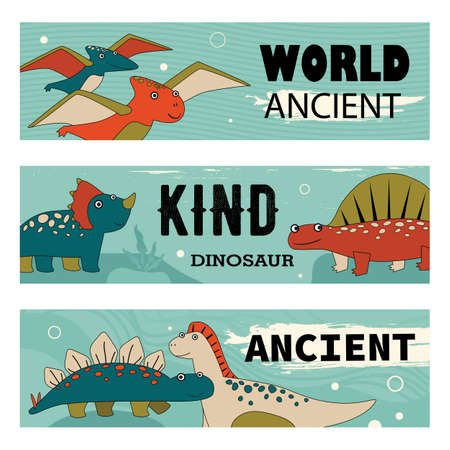 Kind dino characters banners set cartoon vector illustration. Banners with cute and funny prehistoric animals in colorful background. Dinosaur, history, ancient concept for banner design, landing page