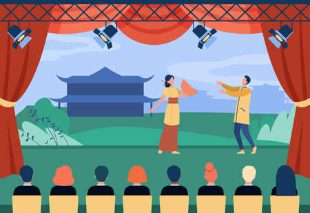 Chinese actors performing theatrical piece on stage. Costume, theater, audience flat vector illustration. Entertainment and art concept for banner, website design or landing web page