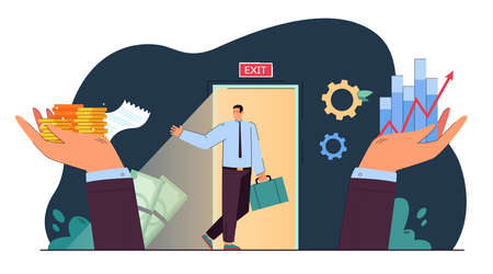 Sale of property rights metaphor flat vector illustration. Tiny cartoon business owner selling profitable company avoiding bankruptcy. Change, business, bargain, deal, buyout concept for banner design 向量圖像