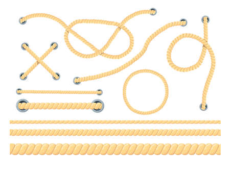 Cartoon set of different ropes flat vector illustration. Colorful collection of different types of cords, strings with loops and knots. Knot tying, tourism concept for border, banner design 向量圖像