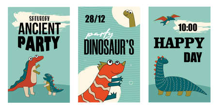 Set of happy dino characters invitations. Cartoon vector illustration. Cute dinos template for Saturday party in flat colorful design. Party, dinosaur, history, ancient concept for banner design
