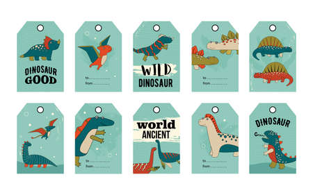 Wild and cute dino tags set. Cartoon vector illustration. Tags with cute comic dinosaurs in colorful background. Dinosaur, history, ancient, gift concept for banner design, landing page
