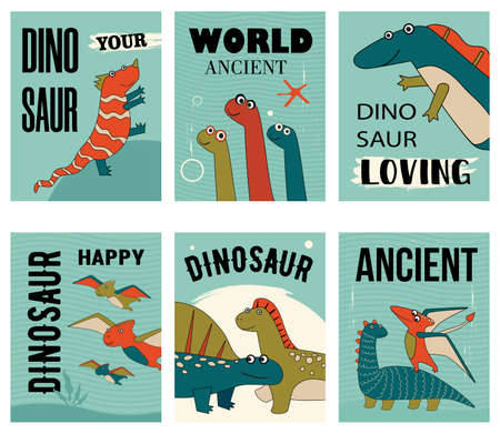 Happy dino characters set of postcards cartoon vector illustration. Posters with cute, loving, smiling prehistoric animals in colorful background. Dinosaur, history, ancient concept for banner design 向量圖像