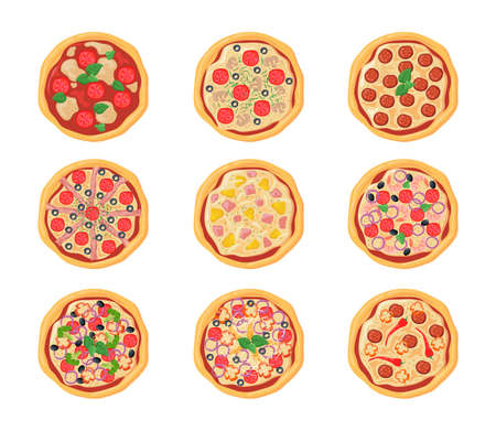 Set of cartoon pizzas with different stuffing. Flat vector illustration. Top view collection of various chicken, pepperoni pizzas isolated in white background. Food, menu, pizza, cuisine concept