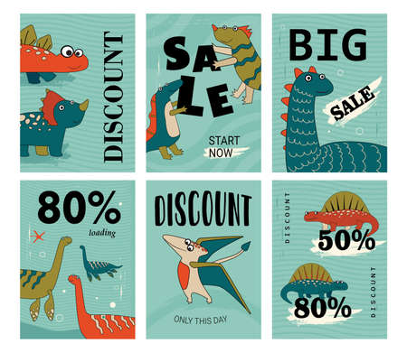Funny and cute dino set of discount flyers. Cartoon vector illustration. Adorable dinos posters in flat colorful design with sale announcement. Sale, discount, dinosaur, ancient concept for design