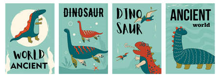 Set of funny ancient dino characters posters. Cartoon vector illustration. Flyers with cute prehistoric animals in colorful background. Dinosaur, history, ancient concept for banner design, landing page
