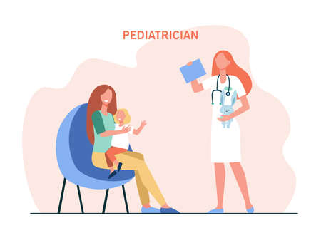 Mother with child at pediatrician office. Cartoon woman with girl, female doctor holding bunny flat vector illustration. Pediatrician, healthcare concept for banner, website design or landing web page