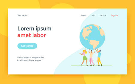 Tiny people holding globe together and smiling. Earth, team, planet flat vector illustration. Environment and ecology concept for banner, website design or landing web page
