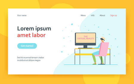 User wearing VR glasses, sitting at workplace. Professional in headset watching virtual presentation. Flat vector illustration. Technology concept for banner, website design or landing web page 矢量图像