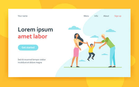 Mom and dad holding kids hands and lifting boy. Child and parents having fun together. Flat vector illustration. Family, leisure, activities concept for banner, website design or landing web page