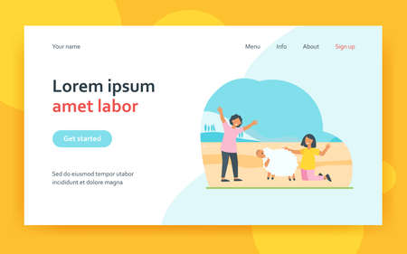 Farmers man and woman people taking care of sheep at farm. Domestic animal flat vector illustration. Cattle, livestock farming concept for banner, website design or landing web page