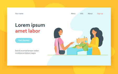 Tailor sewing cloth for female customer at machine. Seamstress talking to client in studio. Flat vector illustration. Fashion designer, craft job concept for banner, website design or landing web page