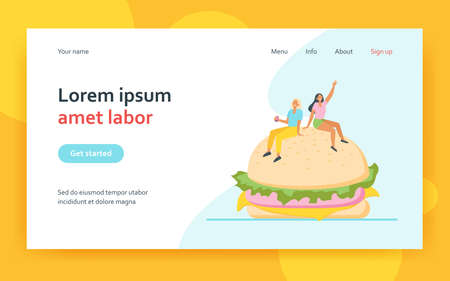 Two tiny women sitting on big burger. Bun, fat, meal flat vector illustration. Junk food and nutrition concept for banner, website design or landing web page 矢量图像