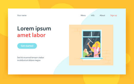Mom and kid cleaning window. Daughter helping mother, rubbing glass with squeegee. Flat vector illustration. Domestic work, house cleanup concept for banner, website design or landing web page 矢量图像