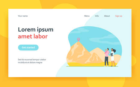 Couple of business colleagues on start of mountain climbing. Itinerary, route on top, trekking. Flat vector illustration. Challenge, goal concept for banner, website design or landing web page 矢量图像