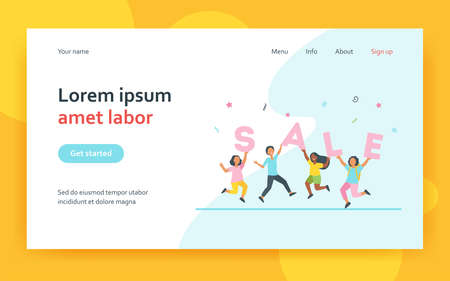 Happy children celebrating sale. Diverse kids party, discount, special offer. Flat vector illustration. Retail event, commerce, shopping concept for banner, website design or landing web page 矢量图像