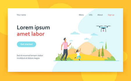 Happy father with daughter playing with quadcopter. Toy, nature, game flat vector illustration. Summer activity and fatherhood concept for banner, website design or landing web page 矢量图像