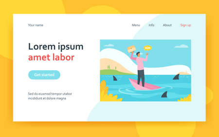 Businessman going through financial crisis and bankruptcy metaphor. Man on sinking boat in sea with sharks. Flat vector illustration. Bankrupt concept for banner, website design or landing web page