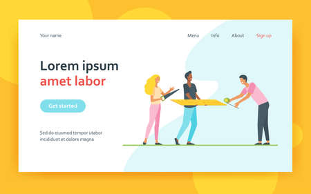 Carpenters men and woman holding saw, tape-measure tools and wooden plank. Workers people characters flat vector illustration. Handyman profession concept for website design or landing web page