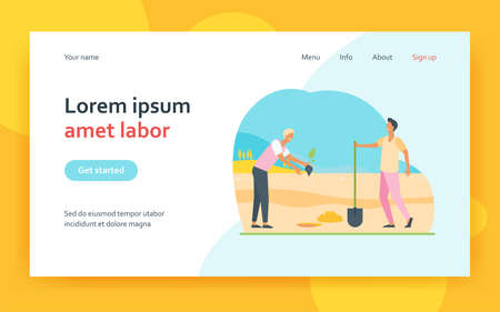 Gardeners men planting sprout into ground. Workers digging pit with shovel flat vector illustration. Gardening and agriculture concept for banner, website design or landing web page