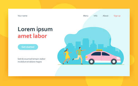 Man and woman running after taxi in hurry. Car, city, vehicle flat vector illustration. Transportation and urban lifestyle concept for banner, website design or landing web page