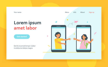 Happy kids talking from giant smartphone screens. Phone, friend, online flat vector illustration. Communication and friendship concept for banner, website design or landing web page