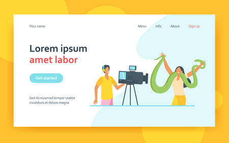 Happy woman posing on camera with big snake. Operator, trip, video flat vector illustration. Entertainment and exotic animals concept for banner, website design or landing web page
