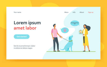 Dog owner man and veterinarian woman with chip syringe and microchipping certificate. Safety animal chip flat vector illustration. Microchipping pet concept for website design or landing web page 矢量图像