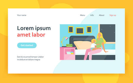 Tired mother sitting on bed with baby at night. Insomnia, newborn, infant flat vector illustration. Maternity and parenthood concept for banner, website design or landing web page 矢量图像