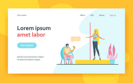 Happy man paying to woman pole dancing. Dancer, money, performance flat vector illustration. Entertainment and weekend concept for banner, website design or landing web page