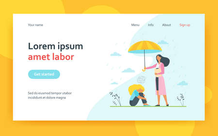 Counselor helping depressed client. Psychologist with umbrella above anxious woman. Flat vector illustration. Mental health, depression, anxiety concept for banner, website design or landing web page