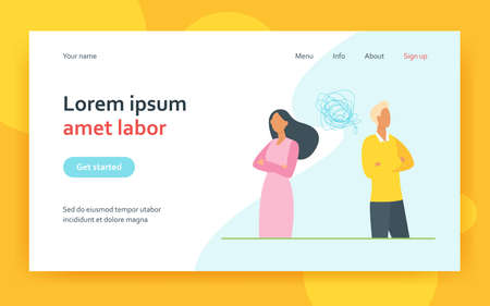 Man and woman family couple quarrel. Unhappy wife and husband standing back to back after argument flat vector illustration. Conflict, relationship problem concept for landing web page