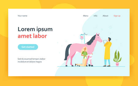 Veterinarian giving treatment to horse. Pet doctor, foal, trauma. Flat vector illustration. Veterinary clinic, animal care, stabling concept for banner, website design or landing web page 矢量图像